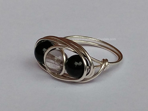 Obsidian and Clear Quartz Wrap Ring