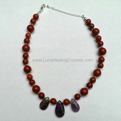 Red Jasper and Amethyst Resizeable Necklace
