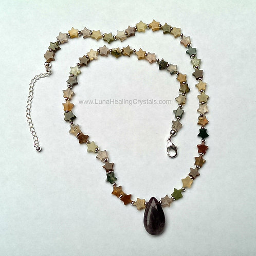 """""""The Alex"""" Fluorite and Amethyst Teenage Necklace"""