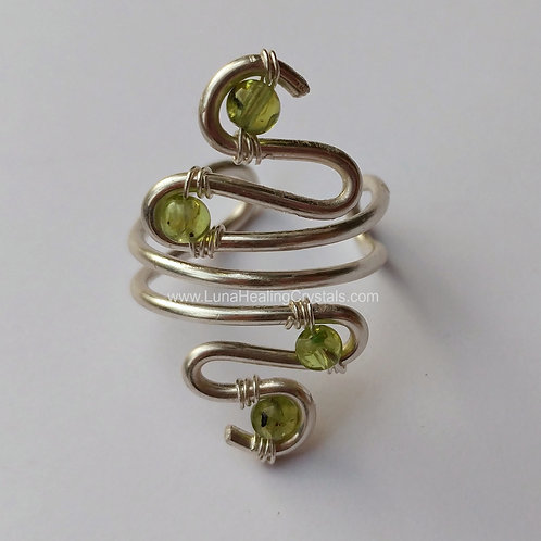 Prehnite Serpent Ring