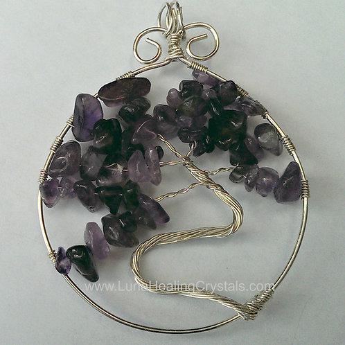 Sterling Silver Amethyst Tree Pendant