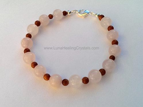 Rose Quartz and Goldstone Bracelet