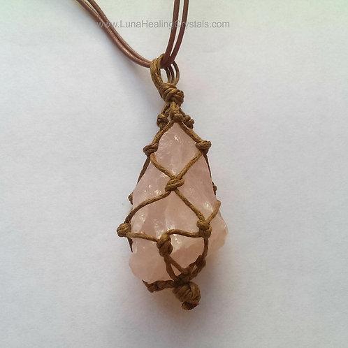 Unisex Rose Quartz Macrame Necklace