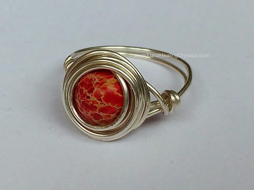 Red Sea Sediment Jasper Wrap Ring