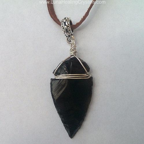 """""""The Warrior"""" Unisex Obsidian Arrow Head Necklace"""