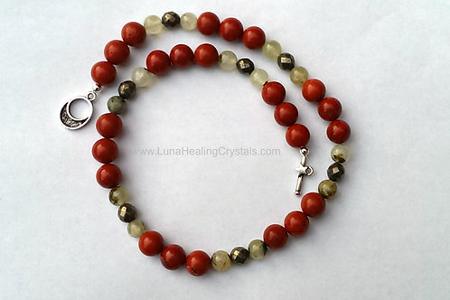 Red Jasper Prehnite & Pyrite Necklace
