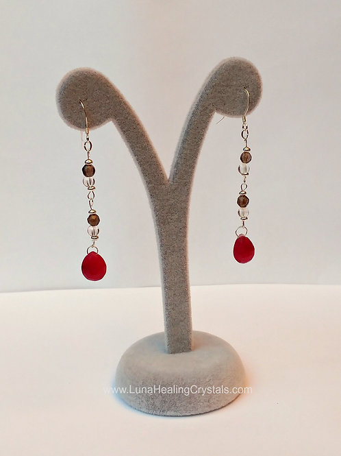 Ruby Smokey and Clear Quart Dangling Earrings