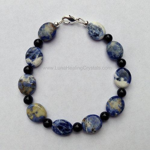 Sodalite and Obsidian Bracelet