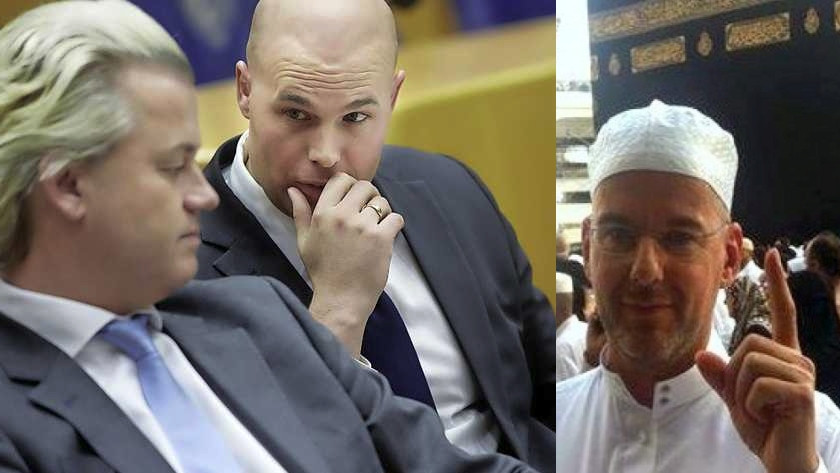 Joram Van Klaveren with party leader Geert Wilders (left), and Arnoud Van Doorn (Right), both accepting Islam