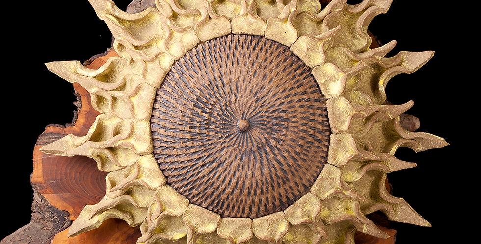 Yellow Pottery Sunflower Garden Art