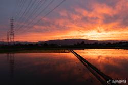 梅雨の晴れ間の夕焼け