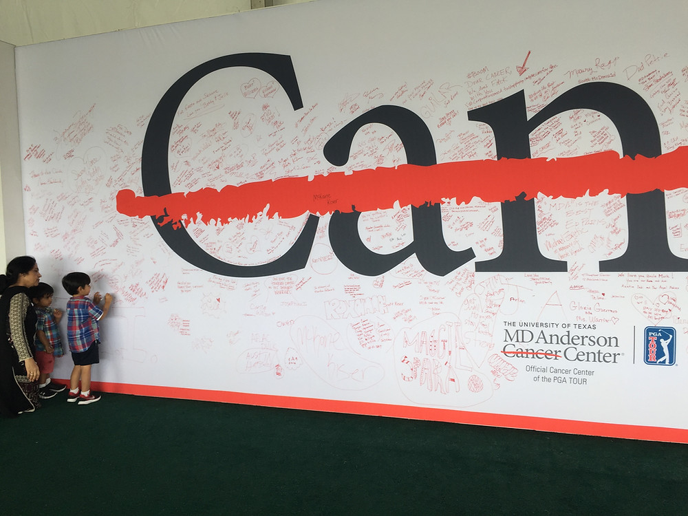 Family Signing MD Anderson Cancer Wall and the Shell Houston Open Skin Screening Event