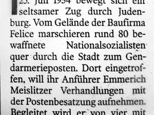 """Recherche-Notiz: """"Murtal war Zentrum"""" – Naziputsch 1934"""
