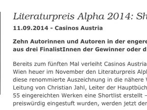 Alpha Literaturpreis: Mittelstadtrauschen auf der Shortlist!
