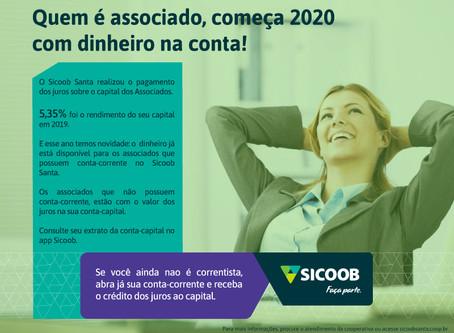Sicoob Santa credita mais de R$ 1,44 milhão de rendimento ao capital