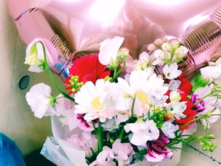 バルーンの花束 ピンク&ブルー