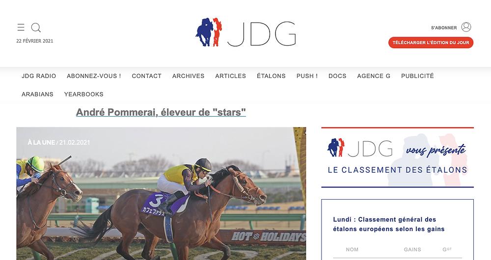 screenshot of http://www.jourdegalop.com website