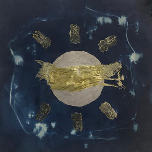 a ritual to stay golden, Cyanotype, ink, relief print