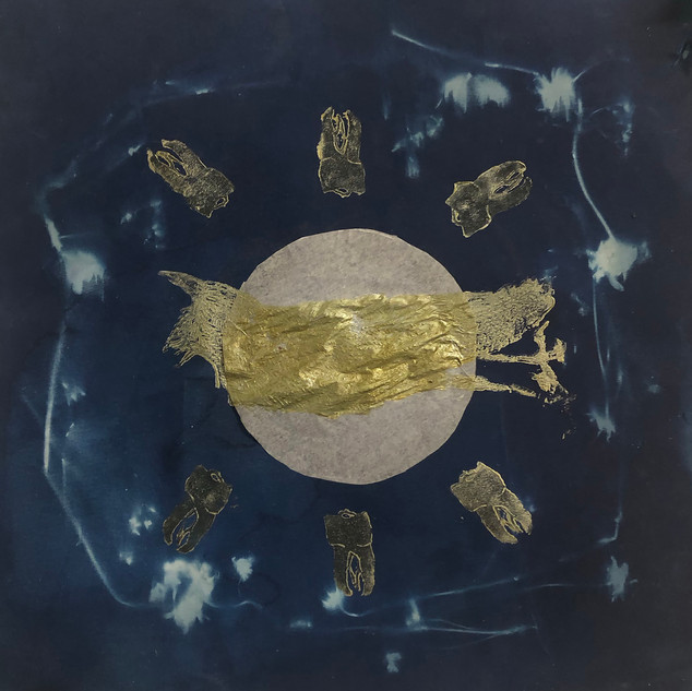 A ritual to stay golden, Cyanotype, ink, paper