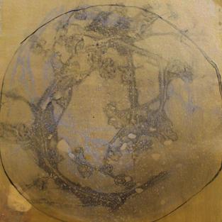"golden II, Monoprint and Ink, 8""x10"", 2020"