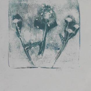 "Dandylions, monoprint, 8""x 10"", 2018"