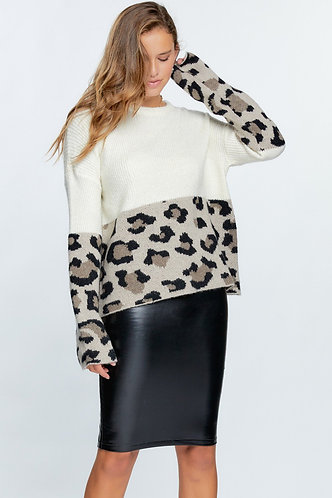 Color Block Cream And Animal Print Sweater