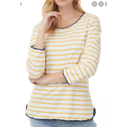 Yellow And White Stripe Top