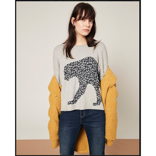 Soft Sweater With Leopard Graphic