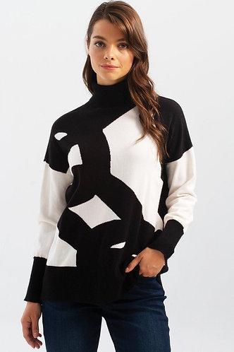 Classic Black White Print Soft Turtleneck Sweater
