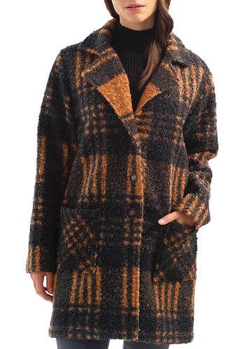 Boucle Knit Plaid Coat