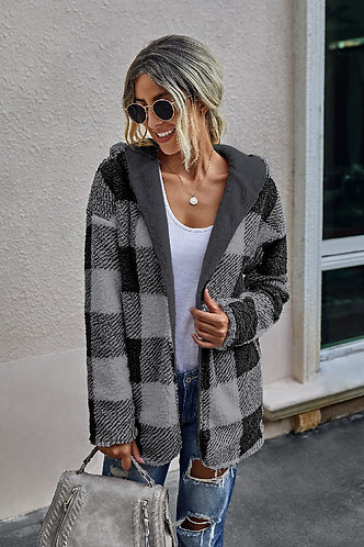 Reversible Plaid Jacket With Hood