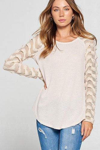Light Weight Thermal With Fishnet Lace Sleeve