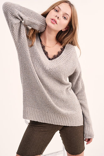 V-Neck Sweater With Lace Trim