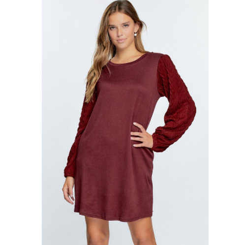 Knit Dress with Sweater Sleeve and Pockets