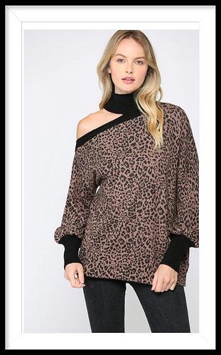 Leopard Print Off Shoulder Sweater