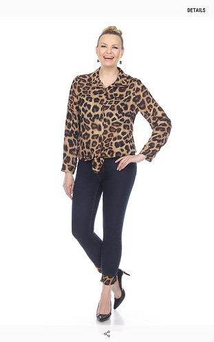 Collared Leopard Print Button Up Shirt