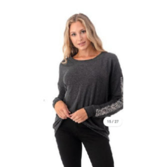 Soft Sweat Shirt With Leopard Trim Detail