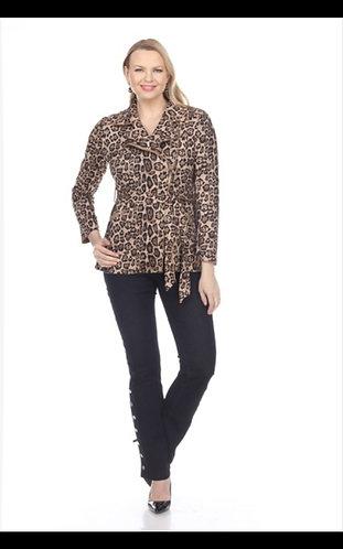 Faux Suede Leopard Print Jacket