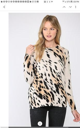 Animal Print Distressed Sweater