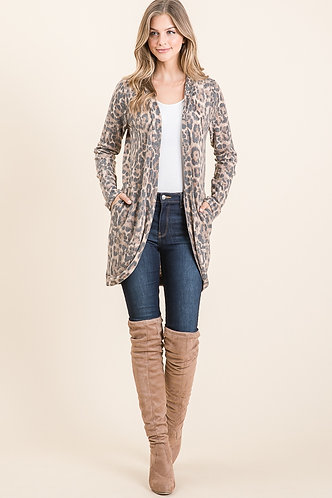 Cozy Cardigan In A Soft Leopard Print