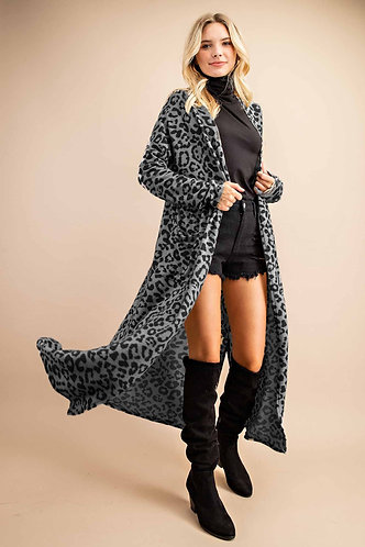 Super Soft Gray Leopard Print Duster