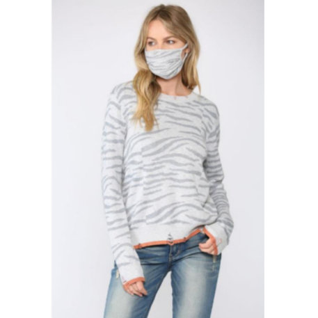 Distressed Zebra Sweater With Mask
