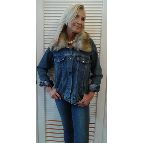 Jean Jacket With Removable Fur Collar
