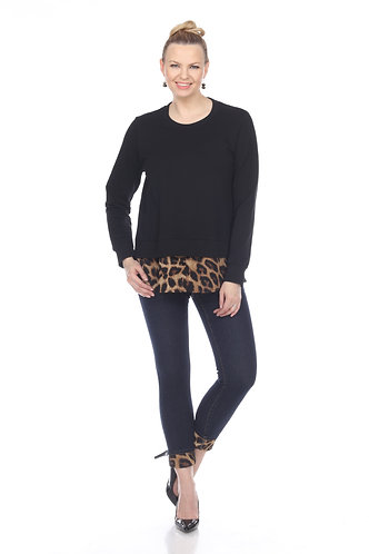 Sweat Shirt With Leopard Trim
