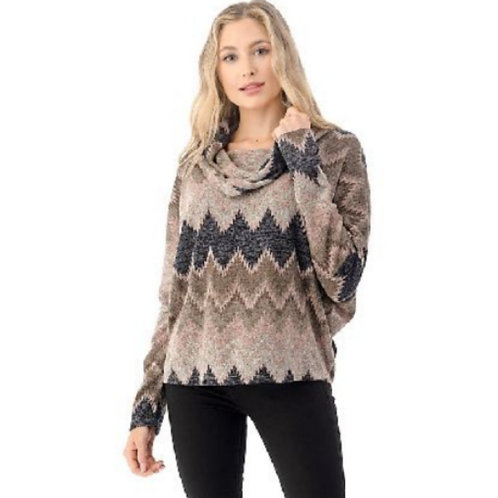 Cowl Neck Sweater With Back Lace Up Detail