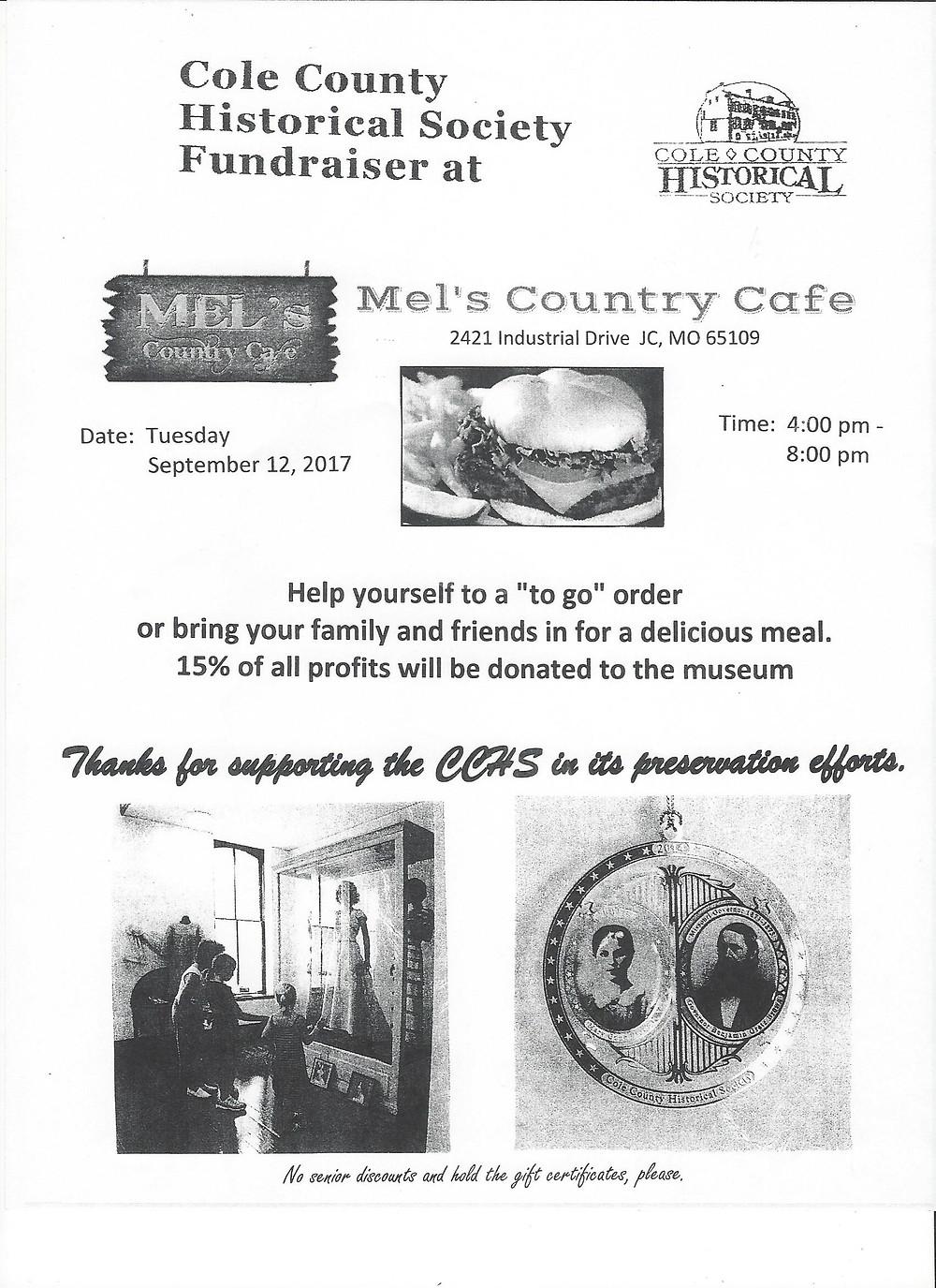 Eat at Mel's 9/12/2017 4 p.m. - 8 p.m.  Fundraiser for CCHS & Museum