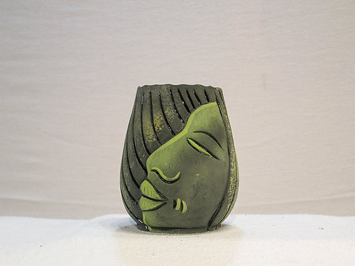 Funky Small Green Jamaican Face Vase