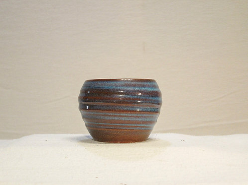 Blue & Brown Swirl Vase, Blue Hill ME