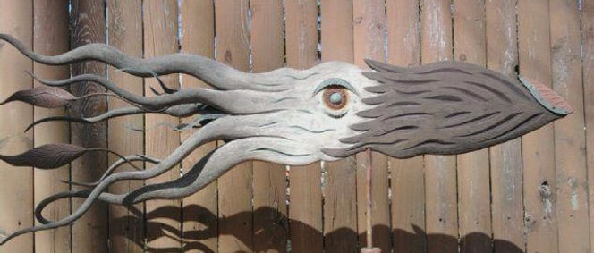 folk art carved ceder kraken weathervane with copper & iron accents
