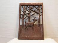 Folk Art Carved Deer Plaque